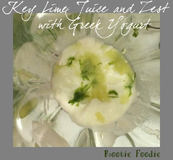 key lime juice and zest with yogurt